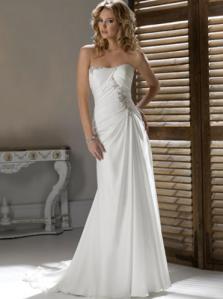 Sheath/Column Strapless Sleeveless Chiffon Wedding Dress